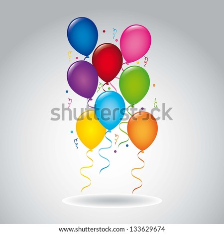colorful balloons over gray background.vector illustration - stock vector