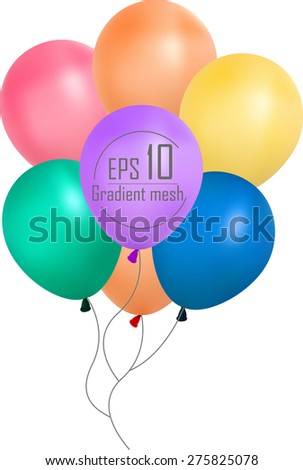 colorful balloons, pink blue , purple , yellow, pink, orange  - stock vector