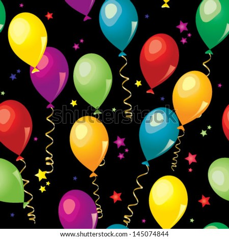 Colorful balloons seamless pattern  over black background - stock vector