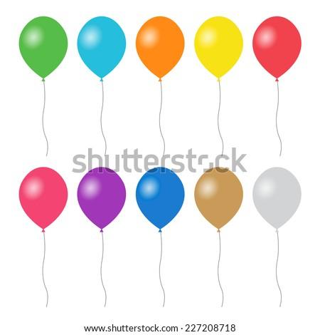 Colorful balloons set - Vector - stock vector