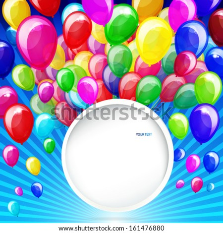 colorful balloons with banner on a blue background - stock vector