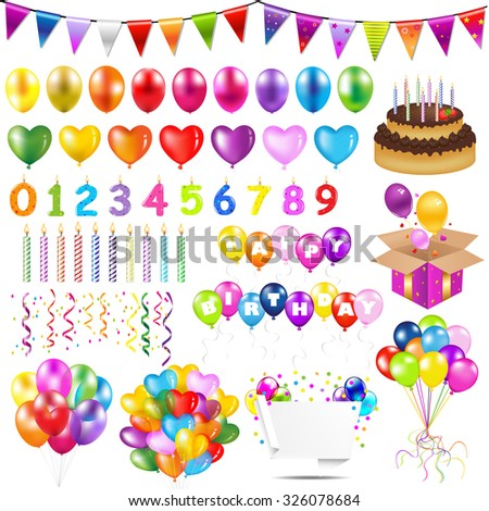 Colorful Balloons With Gradient Mesh, Vector Illustration - stock vector