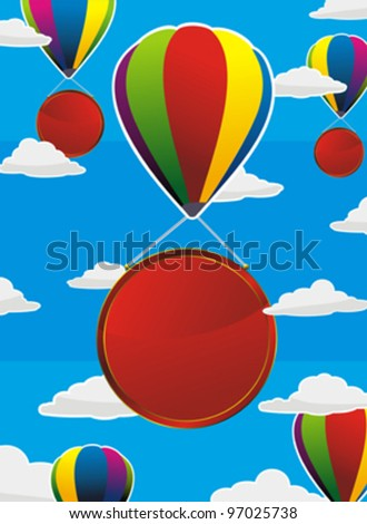 colorful balloons with red labels or frames flying in the sky