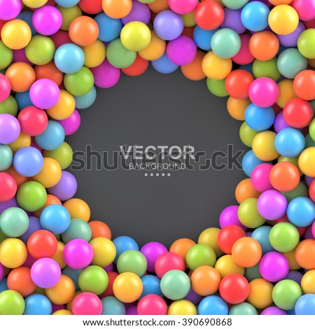 Colorful balls background with place for your content. Vector background made with gradient meshes. Pattern design for banner, poster, flyer, card, postcard, cover, brochure. - stock vector