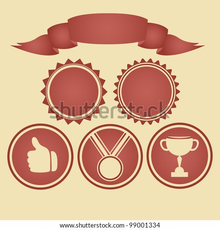 Colorful banner and satisfaction icons - stock vector