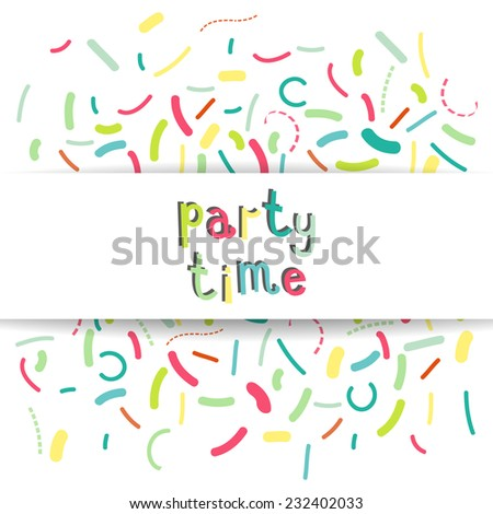 Colorful banner design with confetti and party time text. Vector illustration.