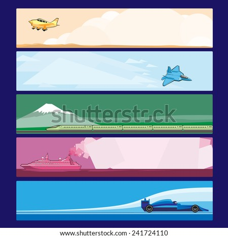 Colorful Banner Vehicle Transports Horizontal - stock vector
