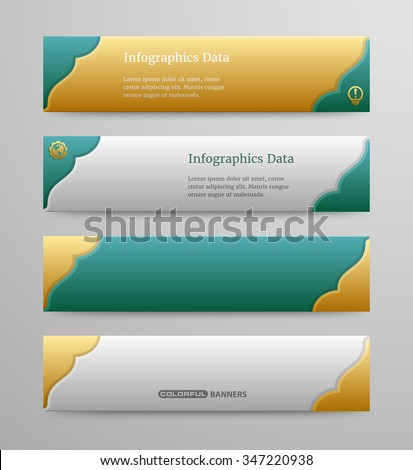 Colorful banners template with 3d Islamic design, main colors easy editable - stock vector