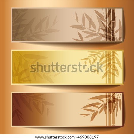 Colorful banners with tree branches. Vector illustration.