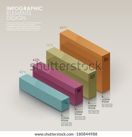 colorful bar chart vector abstract infographic elements