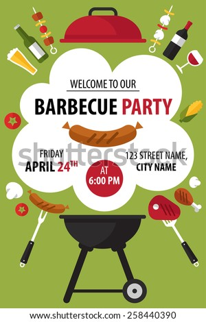Colorful barbecue party invitation. Vector illustration. - stock vector