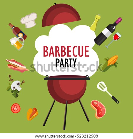 Bbq Party Barbecue Grill Cooking Picnic Stock Vector 282936809 ...