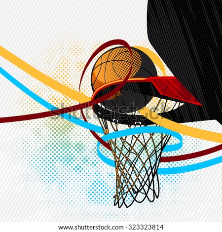 Colorful basketball background - stock vector