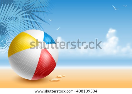 Colorful Beach Ball On The Seaside At Sunny Day. Bright And Glossy Ball For Fun At The Beach. Vector Illustration.  - stock vector