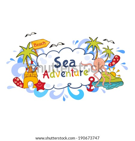 Colorful beach print with cartoon elements,  sea adventure vector illustration