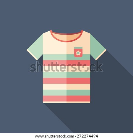 Colorful beach t-shirt flat square icon with long shadows. - stock vector