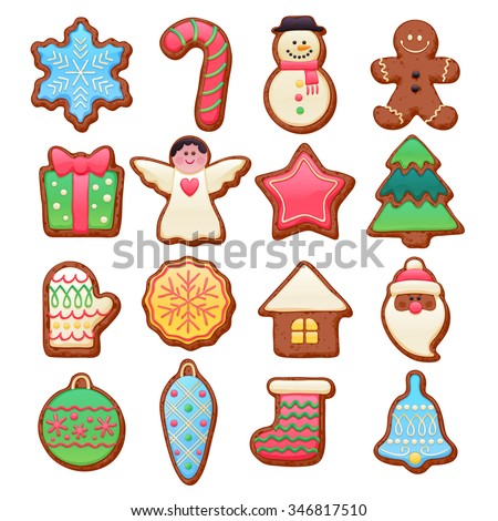 Colorful beautiful Christmas chocolate cookies icons set. Sweet decorated new year backings - gingerbread man star santa snowflake Christmas tree ball sock ant other holiday symbols. - stock vector