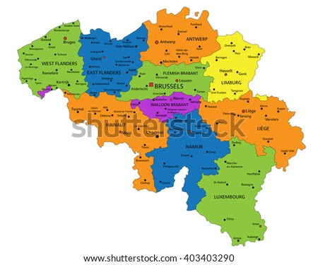 Colorful Belgium political map with clearly labeled, separated layers. Vector illustration.