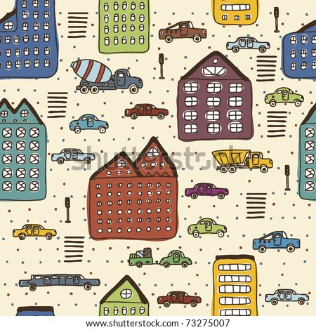 colorful big city seamless pattern - stock vector