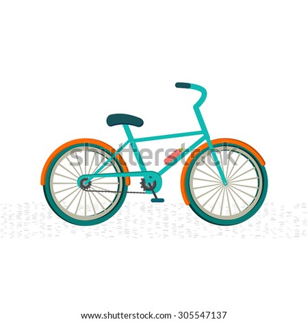 Colorful bike on the road , white background