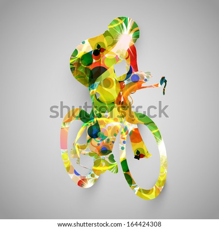 Colorful biker vector illustration - stock vector