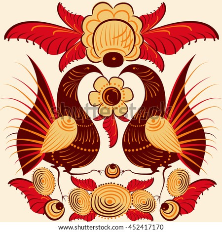 colorful bird, cockerel, Russian folklore. vector illustration
