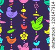 Colorful birds feathers and flowers bead threads seamless pattern, vector - stock vector