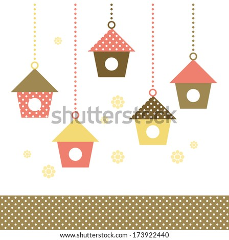 Colorful Birds houses isolated on white. Vector  - stock vector