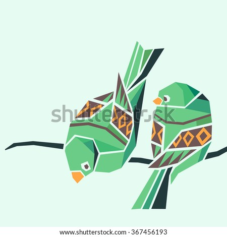 Colorful birds on the branch. Vector illustration
