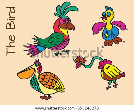 colorful birds vector hand drawing or birds sketch illustration set