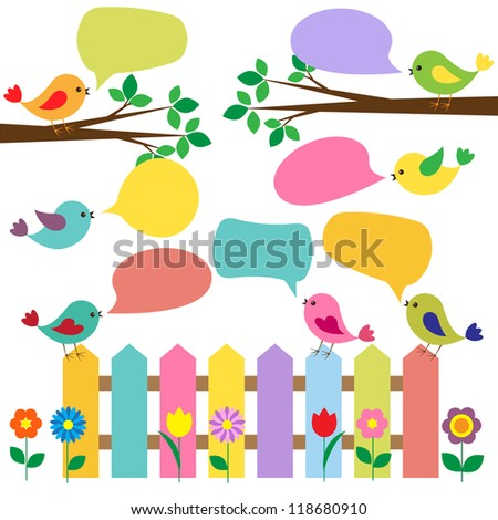 Colorful birds with bubbles for speech - stock vector