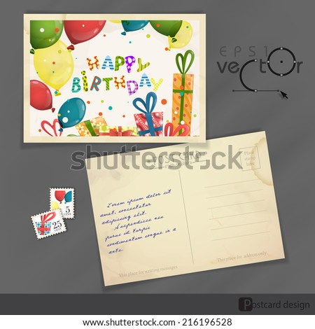 Colorful Birthday Background. Old Postcard Design, Template. Vector Illustration - stock vector