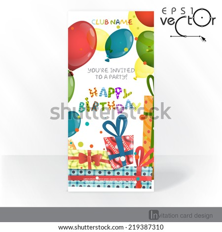 Colorful Birthday Background. Party Invitation Card Design, Template. Vector Illustration - stock vector