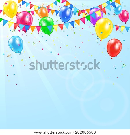 Colorful birthday balloons, pennants, tinsel and confetti on sky background, illustration. - stock vector