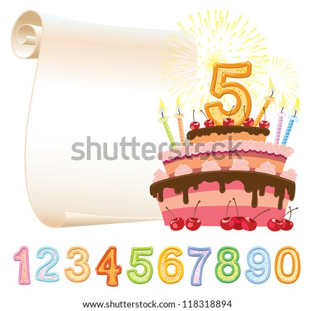 Colorful birthday cake over sheet of paper - stock vector