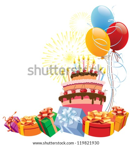 Colorful birthday cake with balloons and gifts. - stock vector