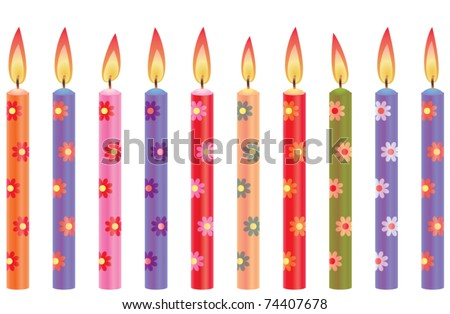 colorful birthday candles with flowers