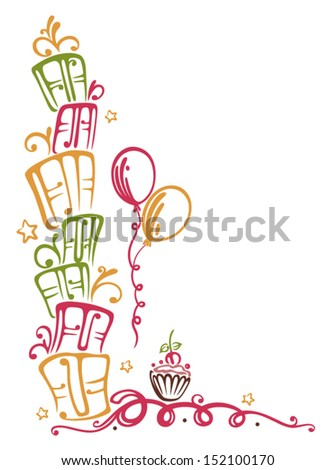 Colorful birthday gifts - stock vector