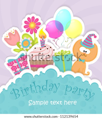 Colorful Birthday greeting card with balloons, flowers, cake, gift boxes and cute cat in hat, stylized like hand-made paper card - stock vector