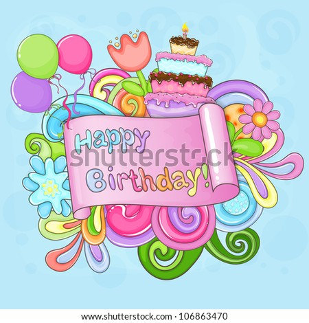 Colorful Birthday Greeting Card Flowers Balloons Stock Vector