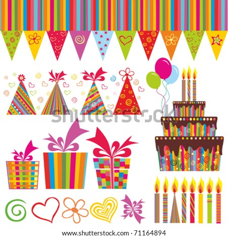 Colorful Birthday Set. Isolated on white background. Vector illustration