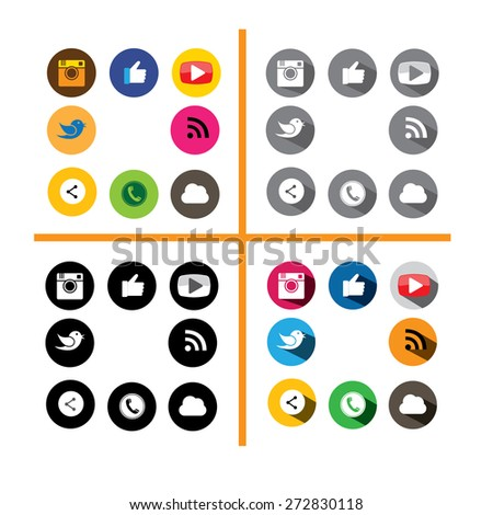 colorful & black circle buttons set of digital camera, like hand symbol, thumbs up, messenger bird, tele-phone receiver, play button, share button, rss feed - social media network vector icons set - stock vector