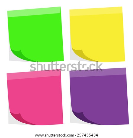 Colorful blank paper note (vector EPS10) - stock vector