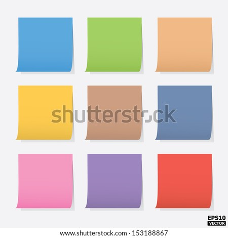 Colorful blank post-it notes or colorful paper notes.-eps10 vector