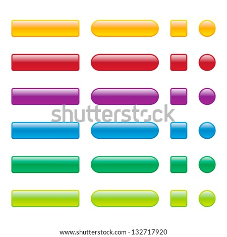 Colorful Blank Web Buttons - stock vector