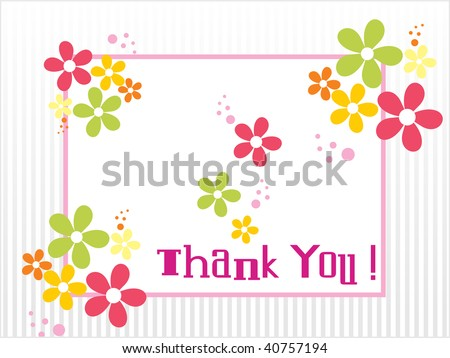 colorful blossom with thank you background - stock vector