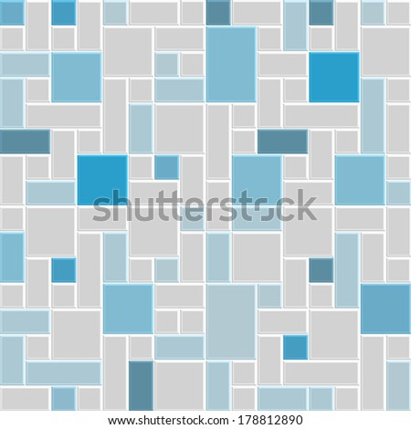 colorful blue and gray pattern tile floor, modern style design of wall, interior, decoration, 3d vector - stock vector
