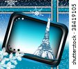 Colorful blue frame with the Eiffel Tower from Paris, fir branch, small stars and white snowflakes - stock vector