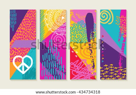 Colorful boho pop art style summer style illustration set with nature elements, plants, flowers, love and happy designs. Ideal for greeting card, label, tag, etc. EPS10 vector. - stock vector