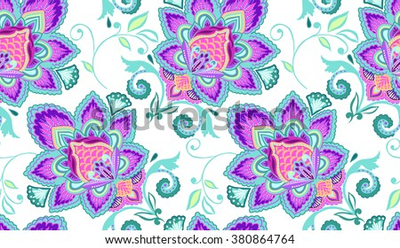 Colorful boho print ~ seamless background - stock vector